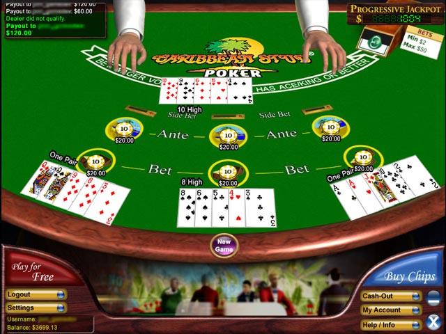 online casino poker caribbean stud
